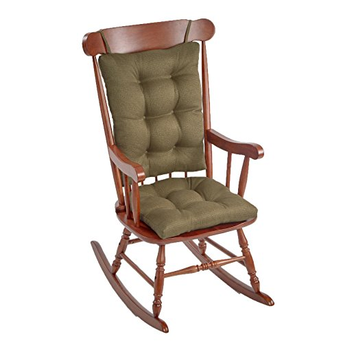 The Gripper Jumbo Sized Omega Series Rocking Chair Pad Cushion Set, 2 Piece Upholstered and Textured Rocking Chair Pad Set, Sage