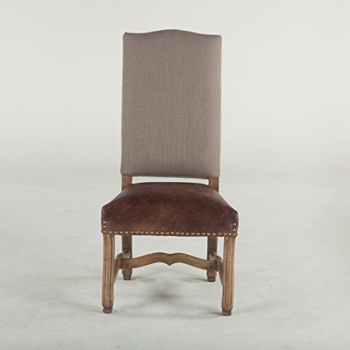 (World Interiors Furniture Isabella Dining Chair with Tan Linen and Distressed Top Grain Leather, Leather/Metal Finish)