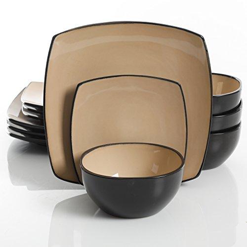 Gibson Elite Soho Lounge 12 Piece Dinnerware Set, Taupe