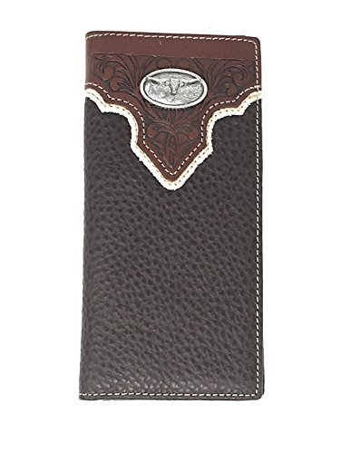 Genuine Leather Texas Longhorn Concho Bifold Long Wallet Checkbook in Brown (Texas Longhorns Pebble Leather)