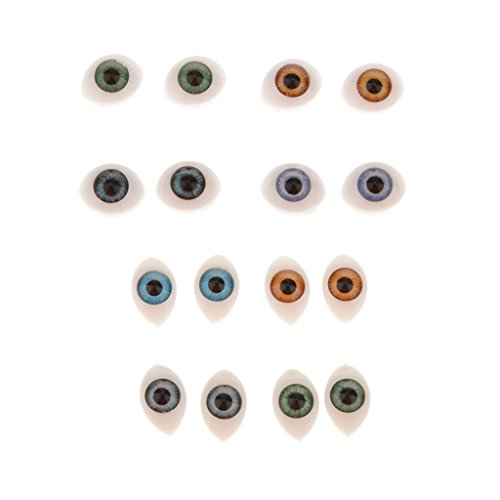 16 Pieces Plastic Oval Eyes Eyeballs for Mask Doll Bear Toy Making 5mm 6mm from Unknown