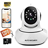 ELITE SECURITY Camera Indoor Home Baby/Pet Monitor Wifi Ip Wireless Cctv Smart Motion Detection FHD 1080P White