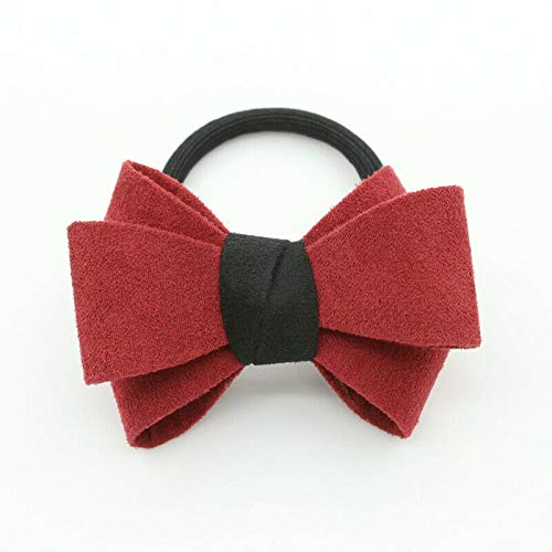(Charm Women Bow Knot Hair Band Elastic Tie Rope Ring Scrunchie Ponytail Holder (Patterns - #B Red))