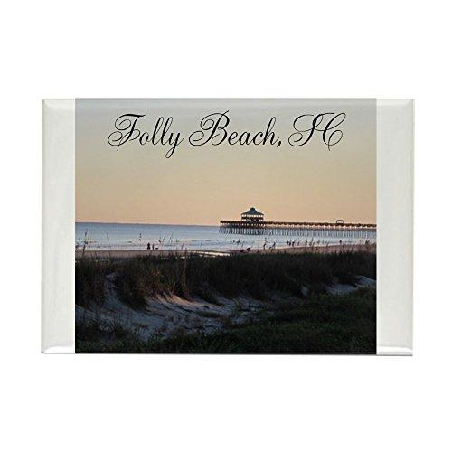 CafePress Folly Beach, SC Pier Rectangle Magnet Rectangle Magnet, 2