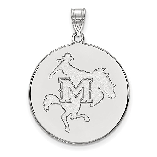 Mcneese State University Basketball (925 Sterling Silver Officially Licensed McNeese State University College XL Disc Pendant)