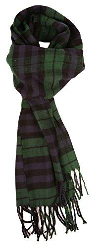Love Lakeside-Women's Cashmere Feel Winter Plaid Scarf Black Watch Tartan