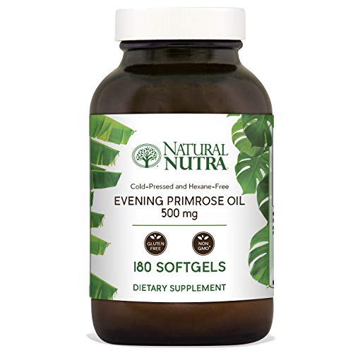 Natural Nutra Evening Primrose Oil Supplement from Fatty Acid, Non-GMO, Cold Pressed, 500 mg, 180 Softgels (Benefits Of Evening Primrose Oil On Face)
