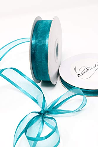 (Amorecreations - Teal Organza Ribbon with Satin Edge-25 Yards X 3/8)