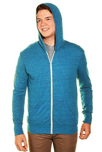 Easy Wear Mens Full Zip Ultralight Hoodie Jacket (Blue, Medium)
