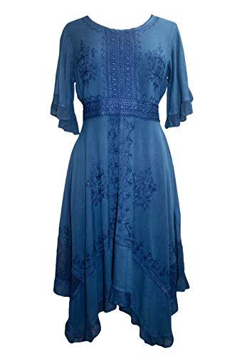 186014 DR Vintage Bohemian Boho Asymmetrical Hem Short Dress [ Blue; 2X] - Tie 70's Side Bottom