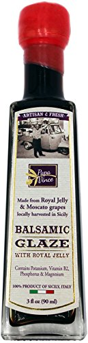 Papa Vince Balsamic Vinegar Glaze - with Royal Jelly | hints of fig, raspberry, cherry, red wine | Vitamin B2, Potassium, Magnesium, Phosphorus | NO COLORING, NO THICKENER, NO ADDED CARAMEL 3 fl oz