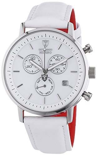 DETOMASO Men's Quartz Stainless Steel and Leather Casual Watch, Color:White (Model: DT1052-D)