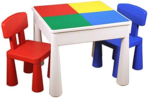 KUBLO KIDS 5-in-1 Multi-Purpose Activity Build & Play Table and 2 Chair Set