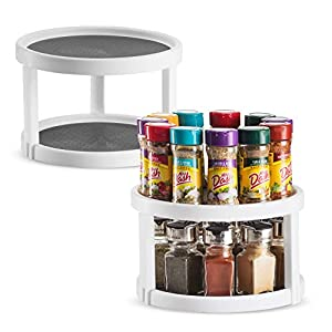2 Pack Non Skid Lazy Susan Turntable Cabinet Organizer – 2 Tier 360 Degree Rotating Spice Rack – 10 Inch Spinning…