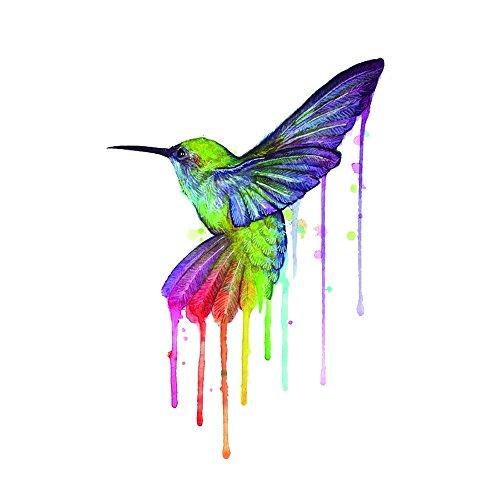 Hummingbird Pc (WYUEN 5 PCS Watercolor Hummingbirds Women Body Temporary Tattoos Men Fake Tattoo Stickers Body Art 9.8X6cm FA-243)