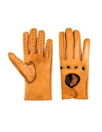 Women Unlined Genuine Leather Driving Gloves (LARGE, TAN)