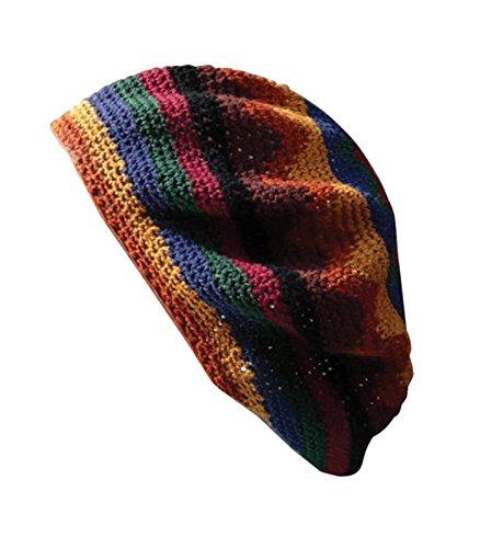 Hat Dreadlock Knit - Inspirit Arts Tam Beret Hat Earthtone Hand Made Knit Slouchy Dreadlock Cap