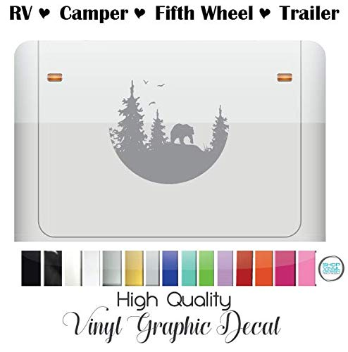 Vinyl Graphic Mural Decal Sticker Size RV Camper Trailer Fifth Wheel Camping High Quality Outdoor Rated Vinyl Replacement for Bear In Mountain Woods Camper to RV