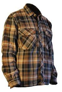 JOBMAN Workwear Men's Quilted Work Shirt, Brown, - Work Flannel Quilted Shirt