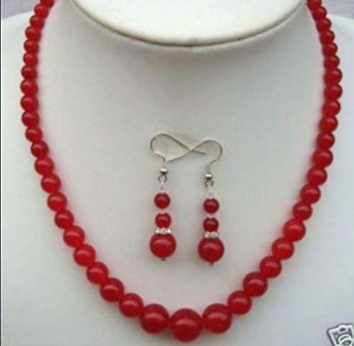 """FidgetKute Charming 6-14mm Round Natural Red Jade Gems Beads Necklaces 18"""" Earrings Set"""