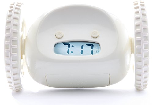 Clocky Rolling Alarm Clock | for Adults and Kids (Best Loud for Heavy Sleeper Bed-Room) Cool, Fun Clockie Jump, Chase, Run-away, Move, Wheel (White)