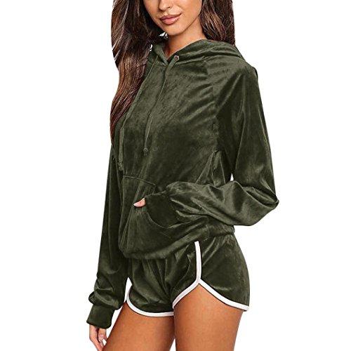 - Mikey Store New Velvet Tracksuit Sets, Long Sleeve Hoodies Sweatshirt Shorts Sport Suit (XX-Large, Green)
