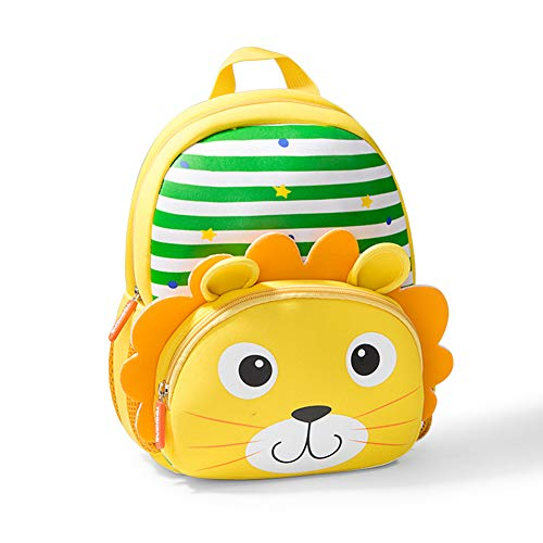 Toddler Backpack, Waterproof Preschool Backpack, 3D Cute Cartoon Neoprene Animal Schoolbag, Lunch Box Carry Bag for 1-6 Years Boys Girls, Lion