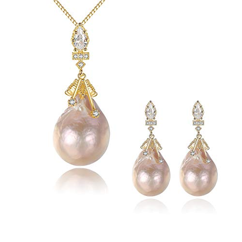- J.Memi's Necklace Natural Baroque Pearl 925 Sterling Silver Pendant Elegant Earrings Jewelry Set - Presented in a Beautiful Jewellery Gift Box,Set
