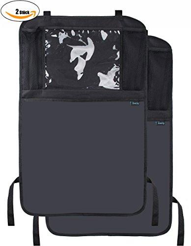Termichy (2 Stück) Auto-Rückenlehnenschutz, Rückenlehnen-Tasche, Trittschutz mit Rücksitz-Organizer, Rücksitzschoner, Kick-Matten-Schutz für den Autositz mit durchsichtigem extra großen iPad-Tablet-Halter, Tablet-Fach, welcher vollen Schutz durch sein wasserdichtes Material bietet