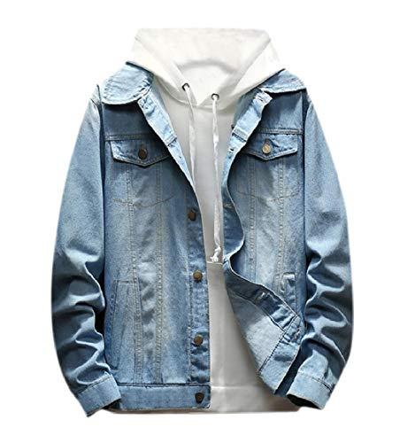 up Button Jeans Rivestimento Mogogo Mens Strato Abbassare Tasche Colletto Lavato Blu Leggero wAwRqfXS