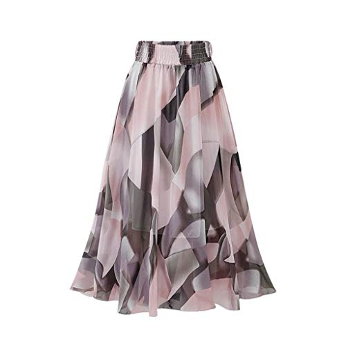 - Zlolia Floral Print Bohemian Skirt for Women Belt High Waist Plain Chiffon Midi Swing Skirt for Everyday Party Work Pink