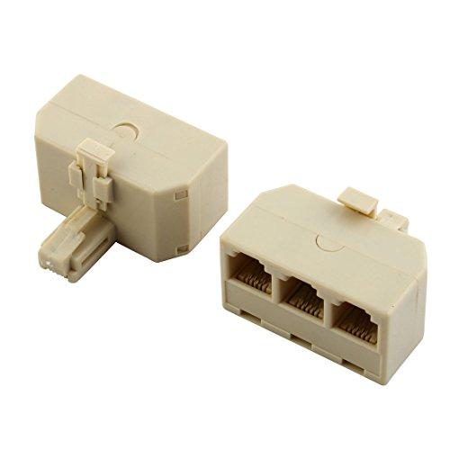 Uxcell Telephone Male to 3 Female RJ11 Plug Splitter, 2 P...