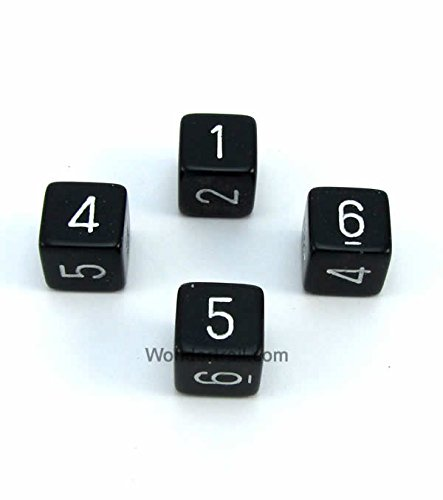 WCXPQ0608E4 Black Opaque Dice with White Numbers D6 Aprox 16mm (5/8in) Pack of 4 Dice Chessex