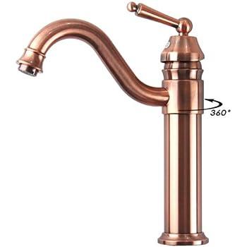 antique copper finish bathroom sink faucet single hole mixer taps single lever handle tall swivel curve spout kitchen sink faucet