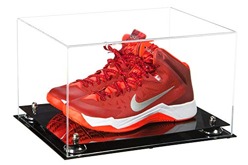 Deluxe Clear Acrylic Basketball Shoe Pair Display Case with Silver Risers (A082-SR)