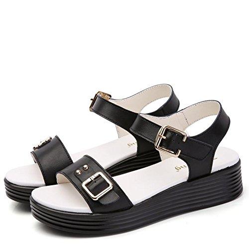 De Mujer Cuero Zapatos Mujer black Zapatos De De Verano Casual Nuevo Calzado Plataforma Sandalias Planos Lin De Sandalias Xing qwPxCz44T