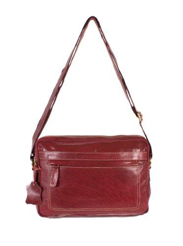 Oxbridge Satchel's - Bolso estilo cartera de Piel para mujer rojo Red