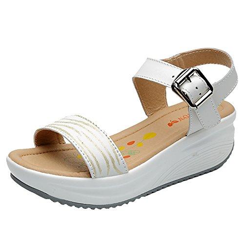 Summer Platform Thick SPEEDEVE Female Buckle Women s Bottom Toe Wedges  Sandals Open White Shoes Ladies Sandals 4SFqw7S e0333ca2cf93