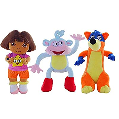 Noemigal The Fluffy Love Adventure of Dora, Boots and Swiper Stuffed Plush Toys--3 PCS/Set---9.8 INCHES: Toys & Games
