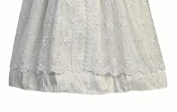White Silk and Embroidered Tulle Christening Baptism Gown - S (3-6 Month)