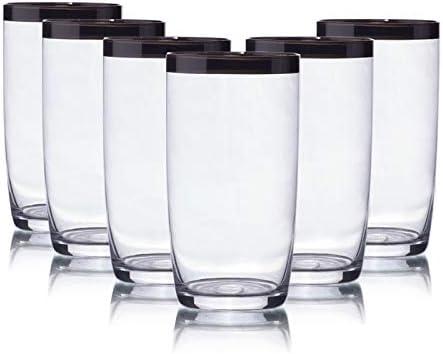 Homevibes Juego De 6 Vasos para Agua con Borde Plateado Vasos para Zumo Cristaleria De Calidad