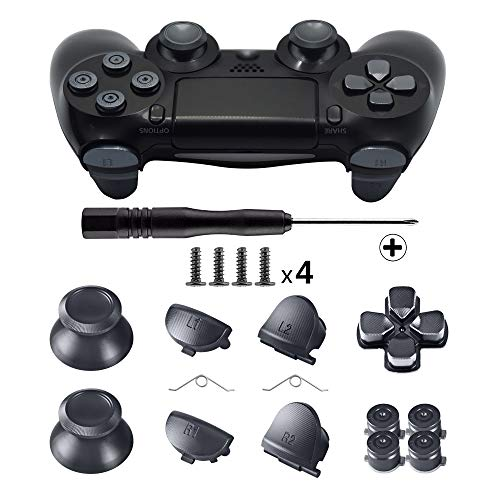 TOMSIN Metal Buttons for DualShock 4, Aluminum Metal Thumbsticks Analog Grip & Bullet Buttons & D-pad & L1 R1 L2 R2 Trigger for PS4 Controller Gen 1 (Metal Black)