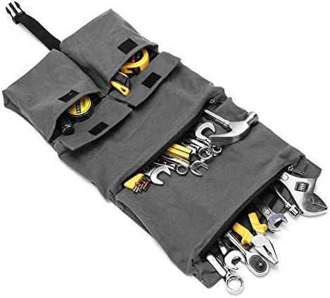 ツールロール 工具バッグ ツールケース 工具袋 折り畳み式 車載 2way 大容量 携帯便利 (グレー)