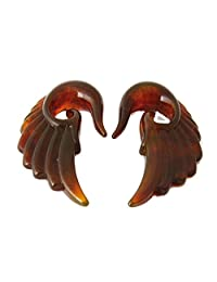 AP-189 Acrylic Translucent brown Angel Wing Design Ear Taper Plugs Gauges