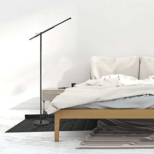 HOUSEYAS LED Floor Lamp for Reading, Modern Simplicity Style Dimmable Standing Pole Light Daylight with 90 Degree Tiltable Head, Touch Control and Sturdy Base for Living Room, Bedroom, Office, Black