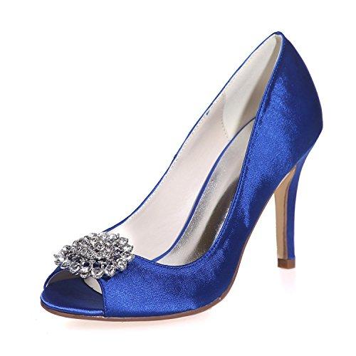 L Colors Peep Silk Heels Party Night 17 amp; More Toe Wedding Women'S YC High 5623 Blue Platform r1HnYArx