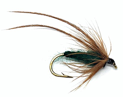 Feeder Creek Fly Fishing Trout Flies - Caddis Mayfly Green Wet Fly Soft Hackle - Three Size Assorted Variety Size 14,16,18 (4 of each Size) For Trout and Other Large Freshwater Fish - Hand Tied by (Soft Nymph Hackle)