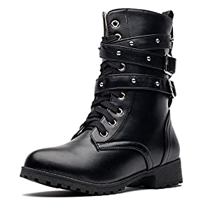 MORNISN Women's Motorcycle Boots Military Combat Boots Mid Calf Lace up Ankle Booties