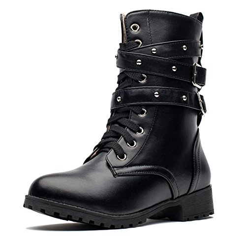 MORNISN Women's Motorcycle Boots Military Combat Boots Mid Calf Lace up Ankle Booties - stylishcombatboots.com