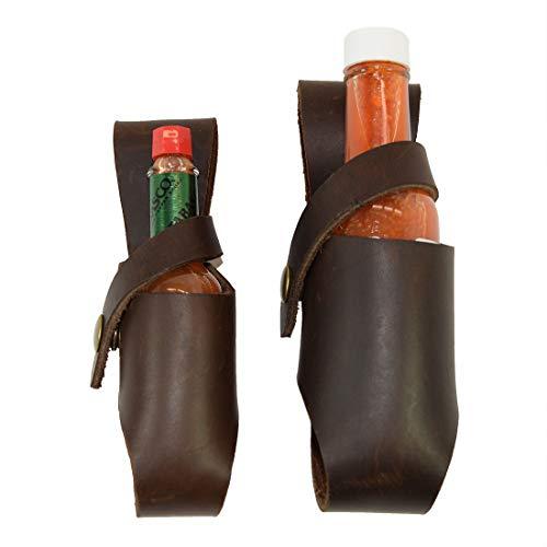 Hide & Drink Thick Leather Hot Sauce Holster 2-Pack 5oz & 2oz Bottle Belt Sheath Handmade Bourbon Brown
